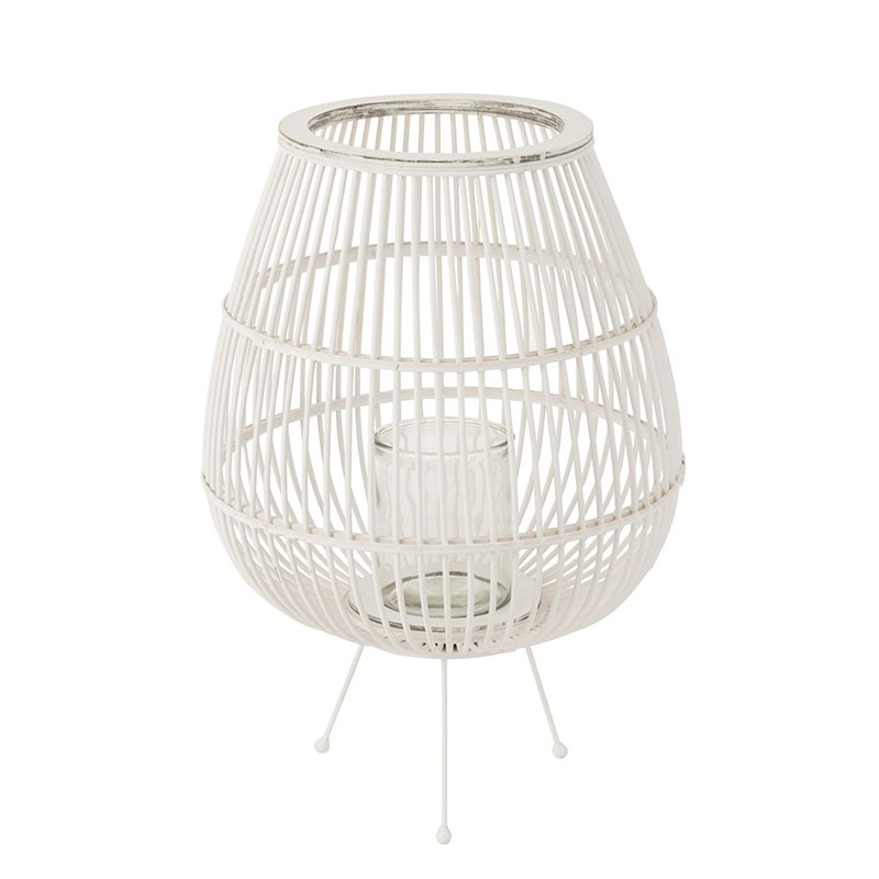 Lanterne en bois blanc mat H59,5cm