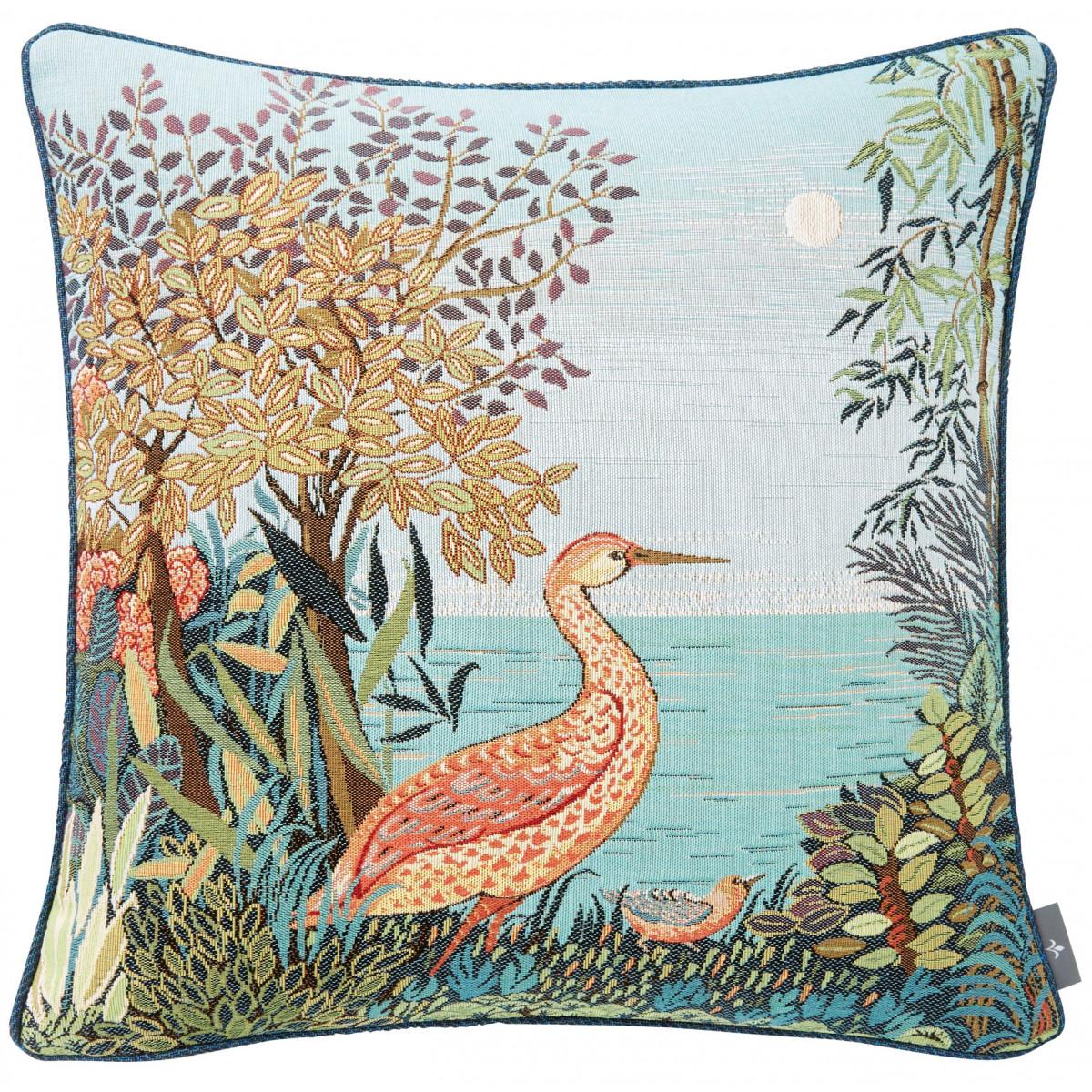 Coussin tapisserie heron en forêt made in france bleu   50x50