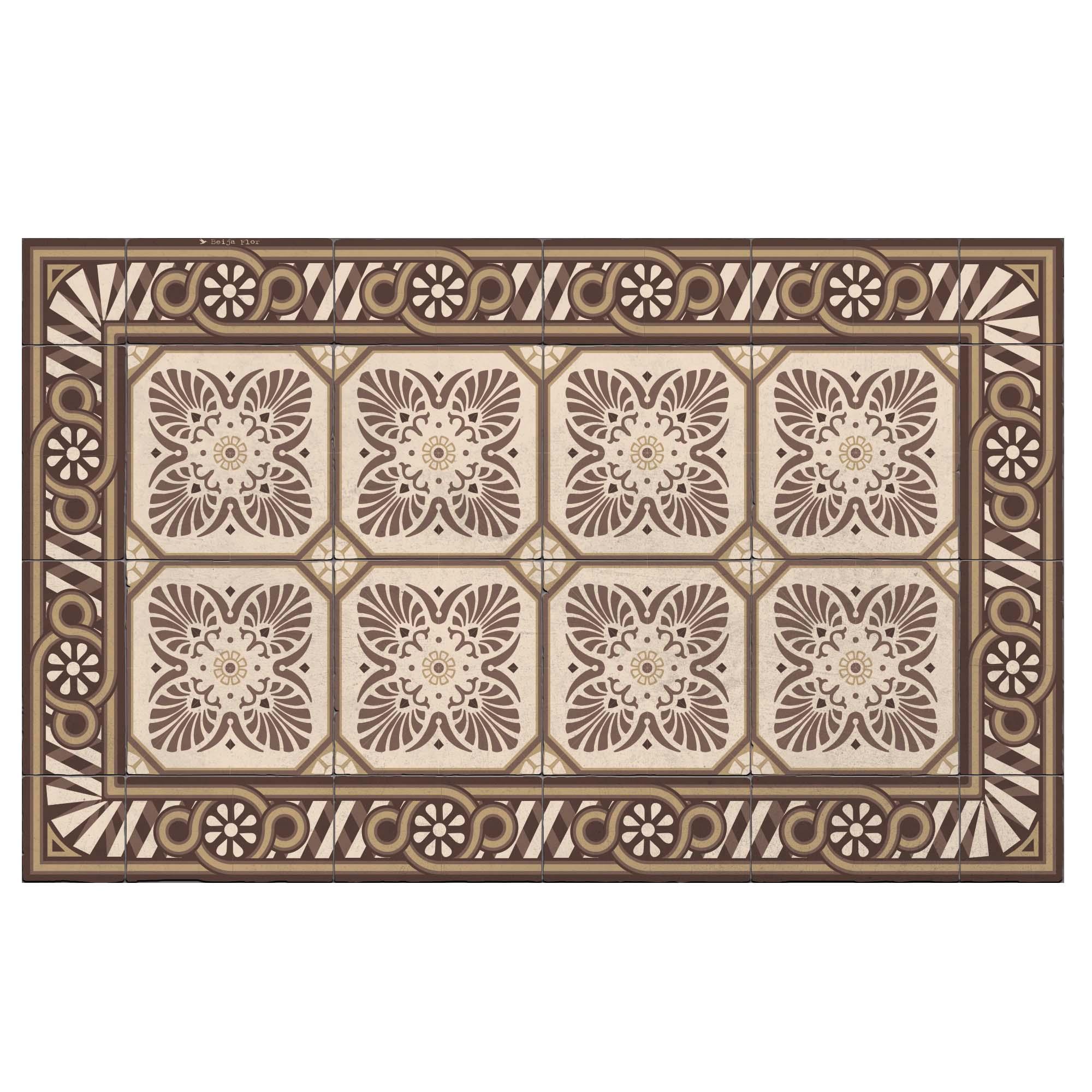 Tapis en vinyle motifs carreaux de ciment marron 60x97