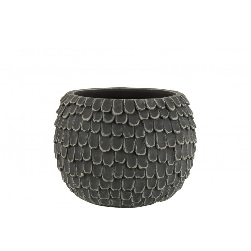 Cache-pot ciment gris foncé H18,5cm