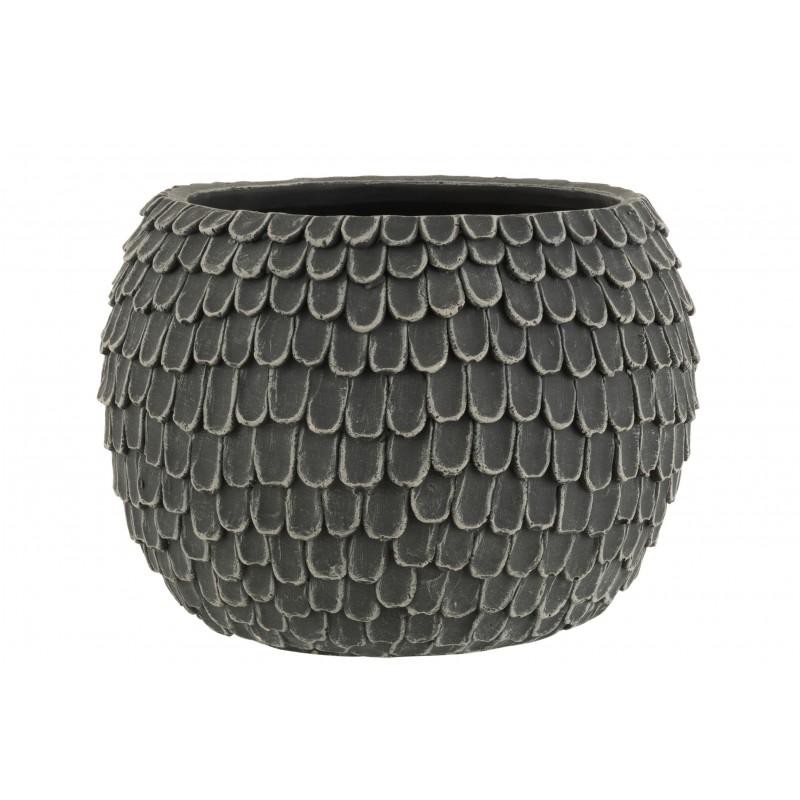 Cache-pot ciment gris foncé H24,5cm