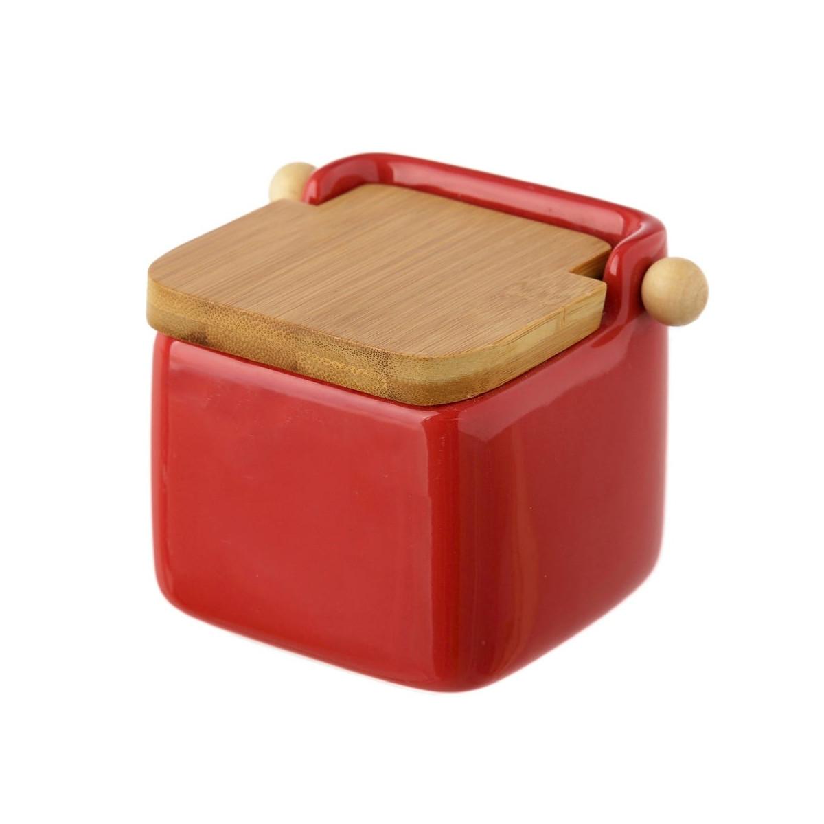 Pot à sel en céramique rouge et couvercle bambou - 12x12x11cm