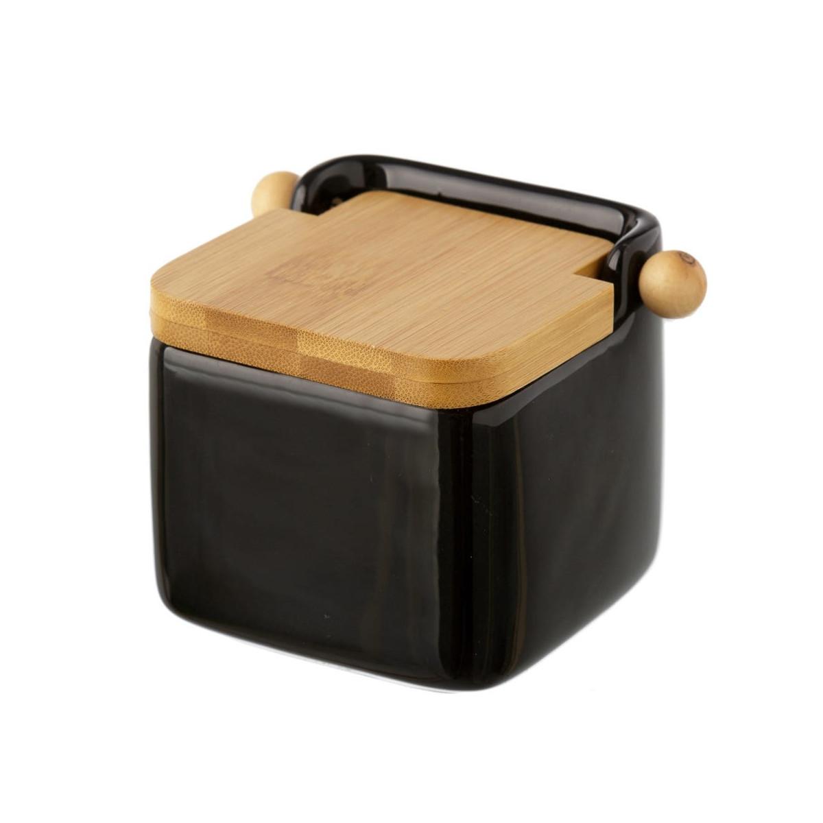 Pot à sel en céramique noir et couvercle bambou - 12x12x11cm