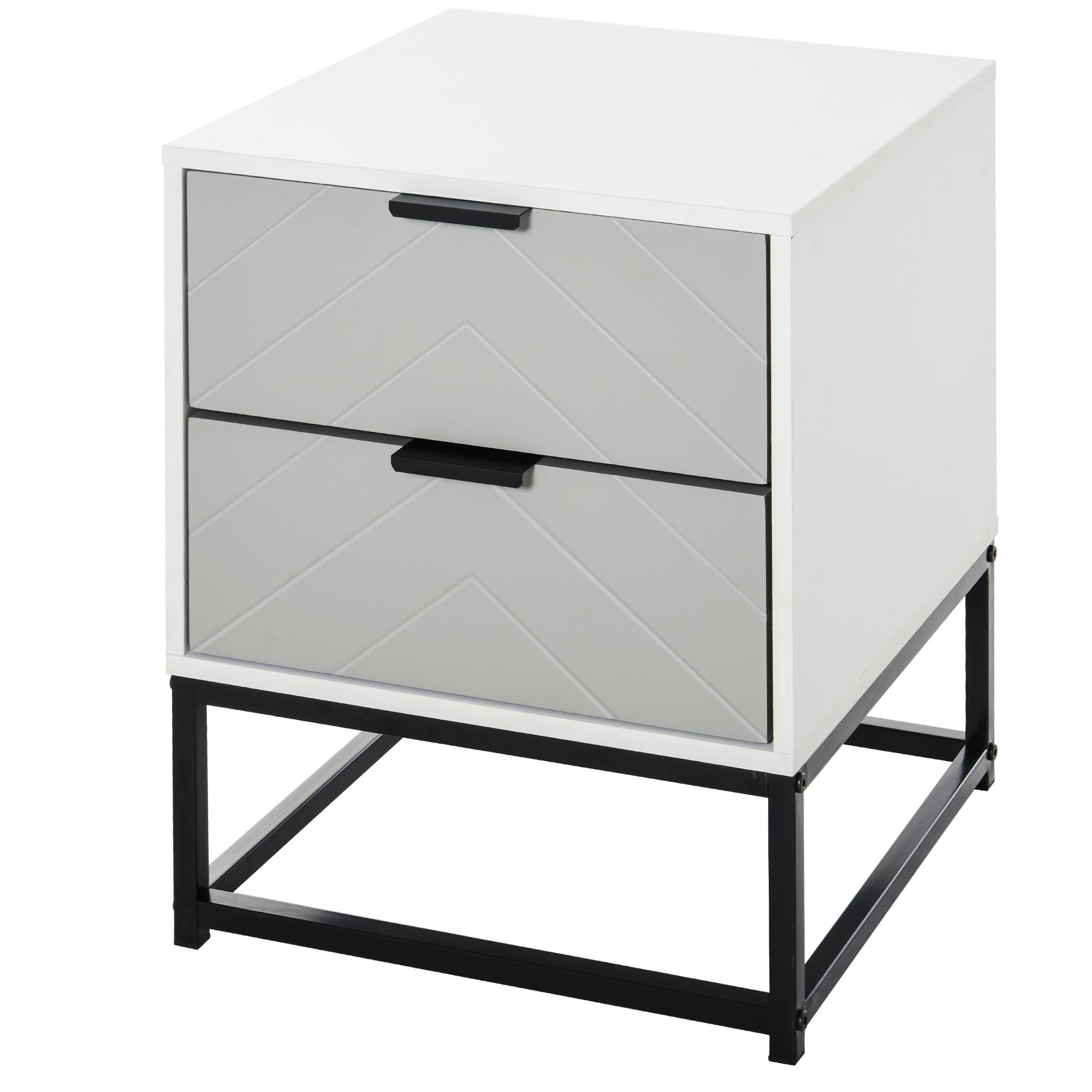 Chevet table de nuit 2 tiroirs piètement métal noir gris blanc