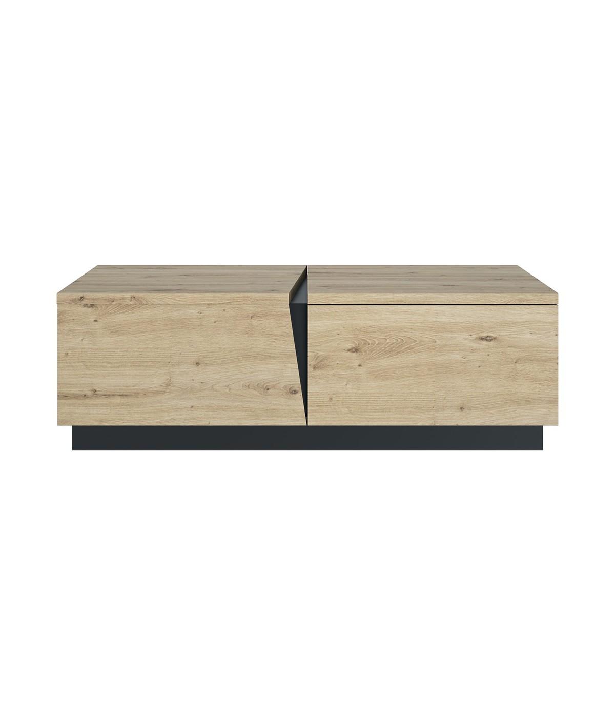 Table basse 1 Tiroir 1 Niche  L114 cm - Décor chêne et noir