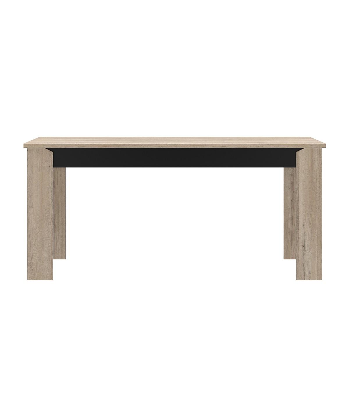 Table à manger rectangle L170 cm - Décor Chêne et noir