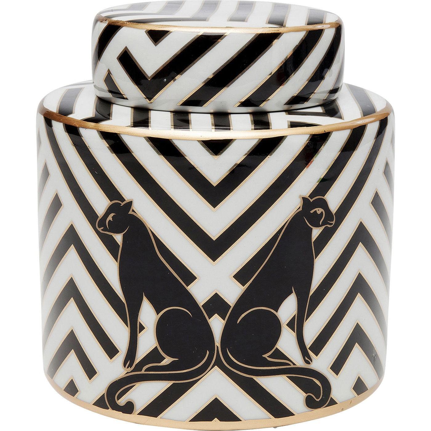 Boîte noire et blanche panthères en porcelaine D16