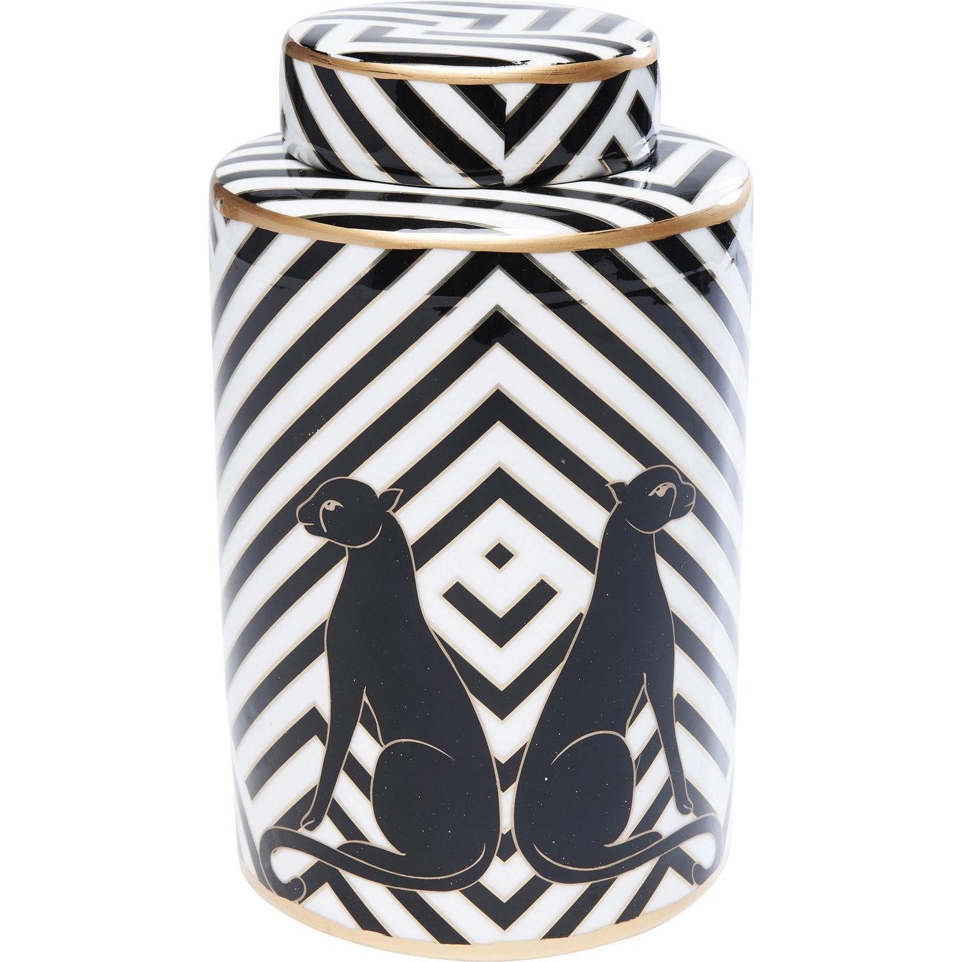 Boîte noire et blanche panthères en porcelaine D15