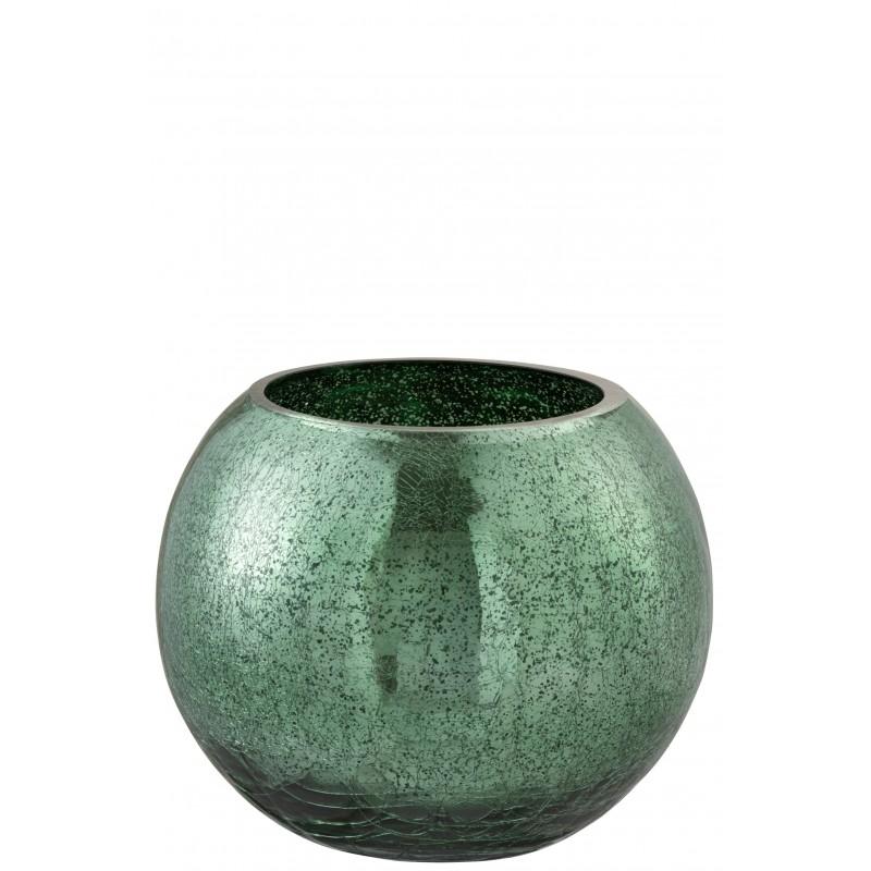 Photophore boule craquelé verre vert brillant D20cm