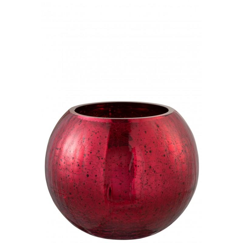 Photophore boule craquelé verre rouge brillant D20cm