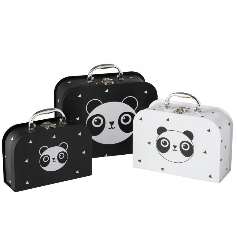 Valises en papier noir et blanc - Lot de 3
