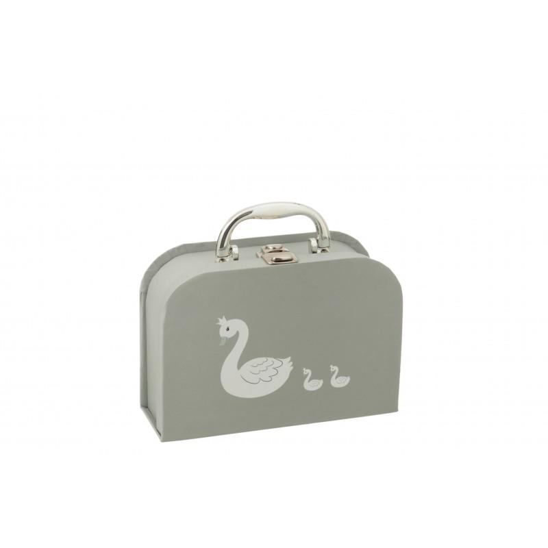 Valise cygne en papier blanc et gris