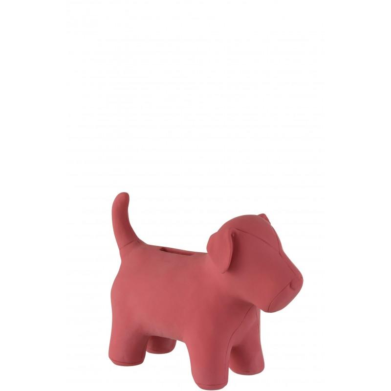 Tirelire chien résine rose