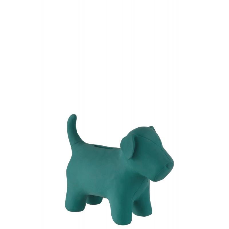 Tirelire chien résine bleu