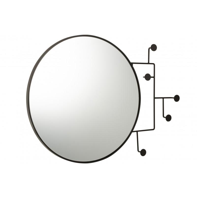Miroir rond crochets noirs L69cm