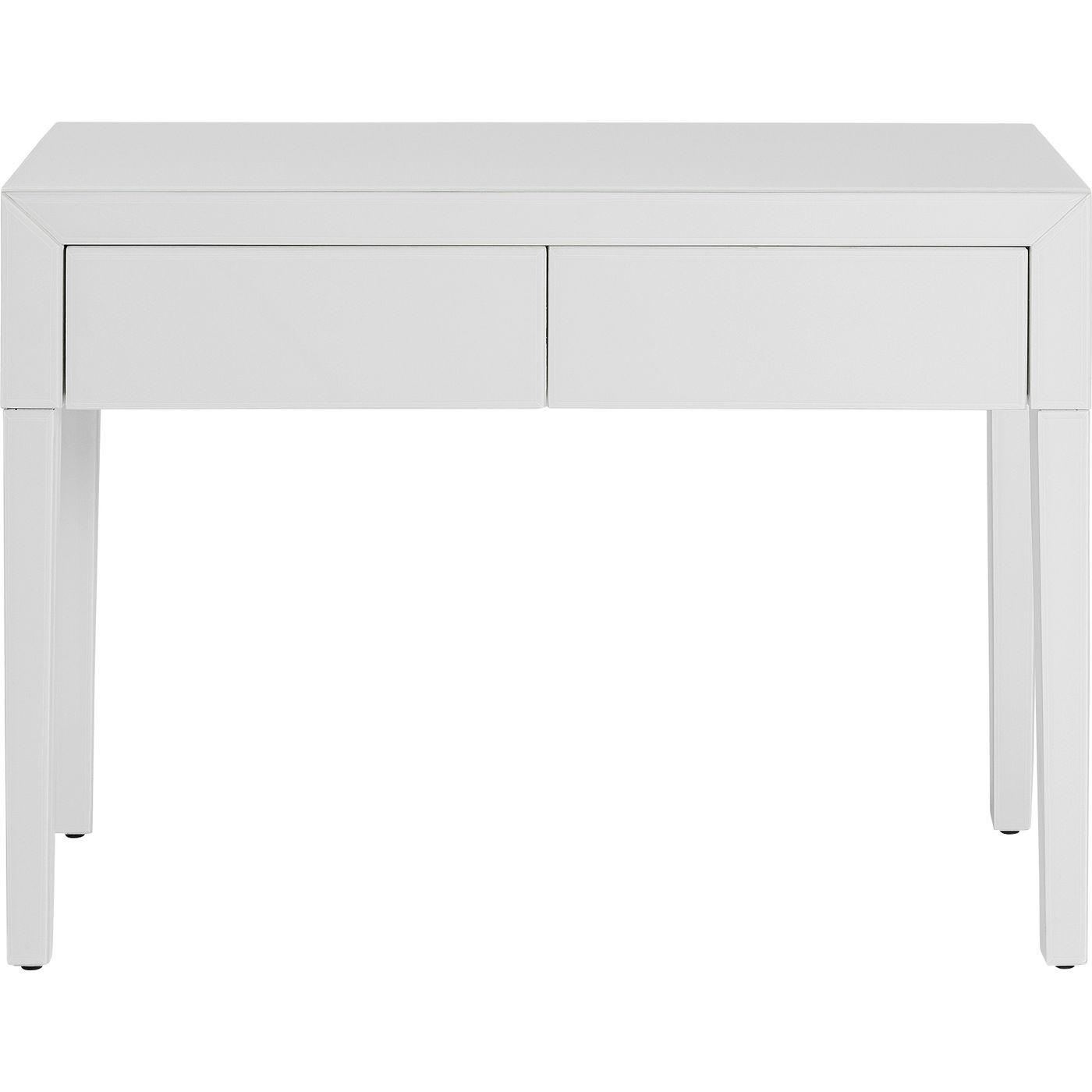 Console 2 tiroirs en verre blanc