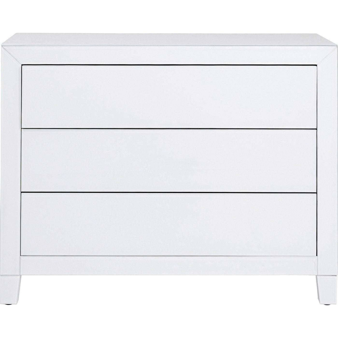 Commode 3 tiroirs en verre blanc