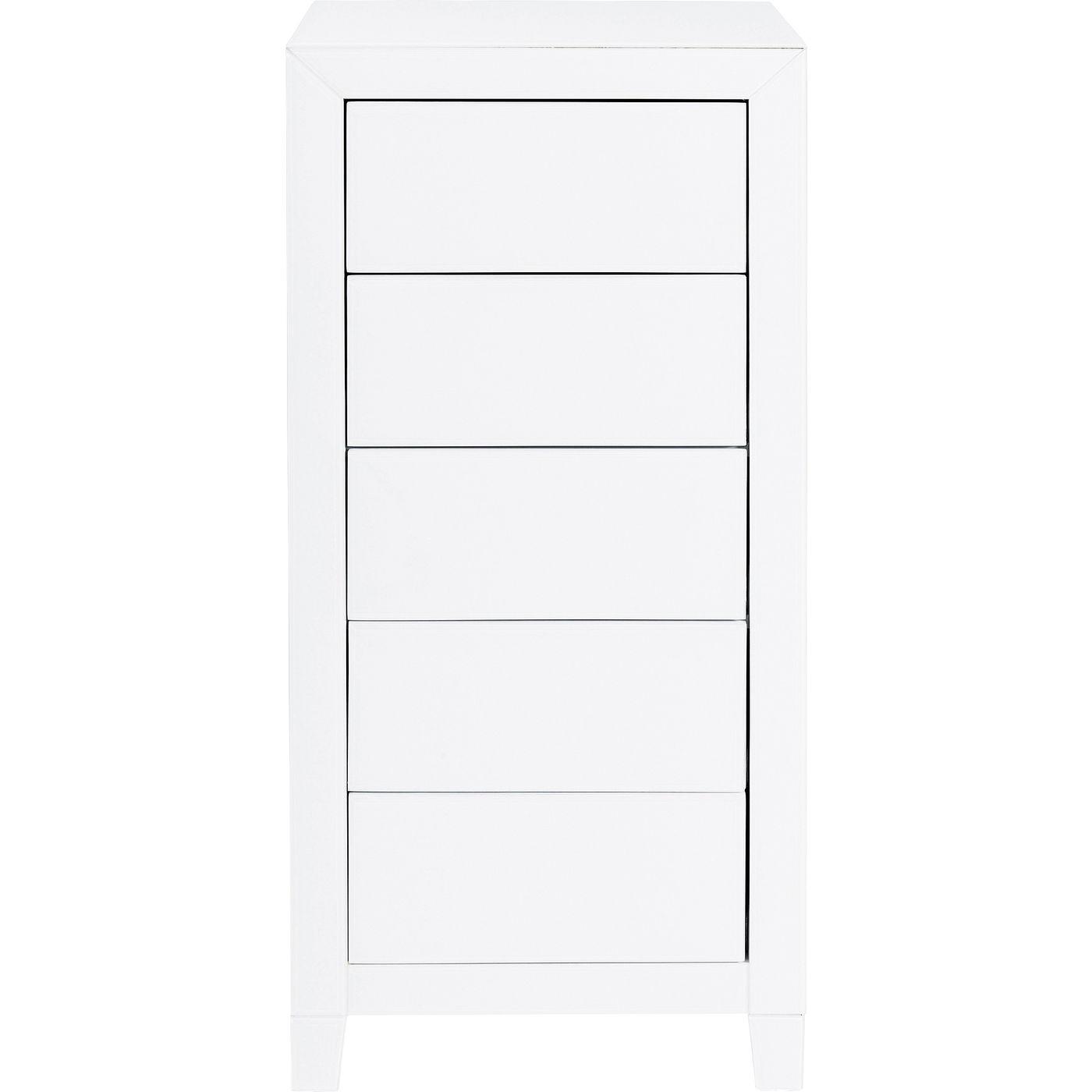 Chiffonnier 5 tiroirs en verre blanc