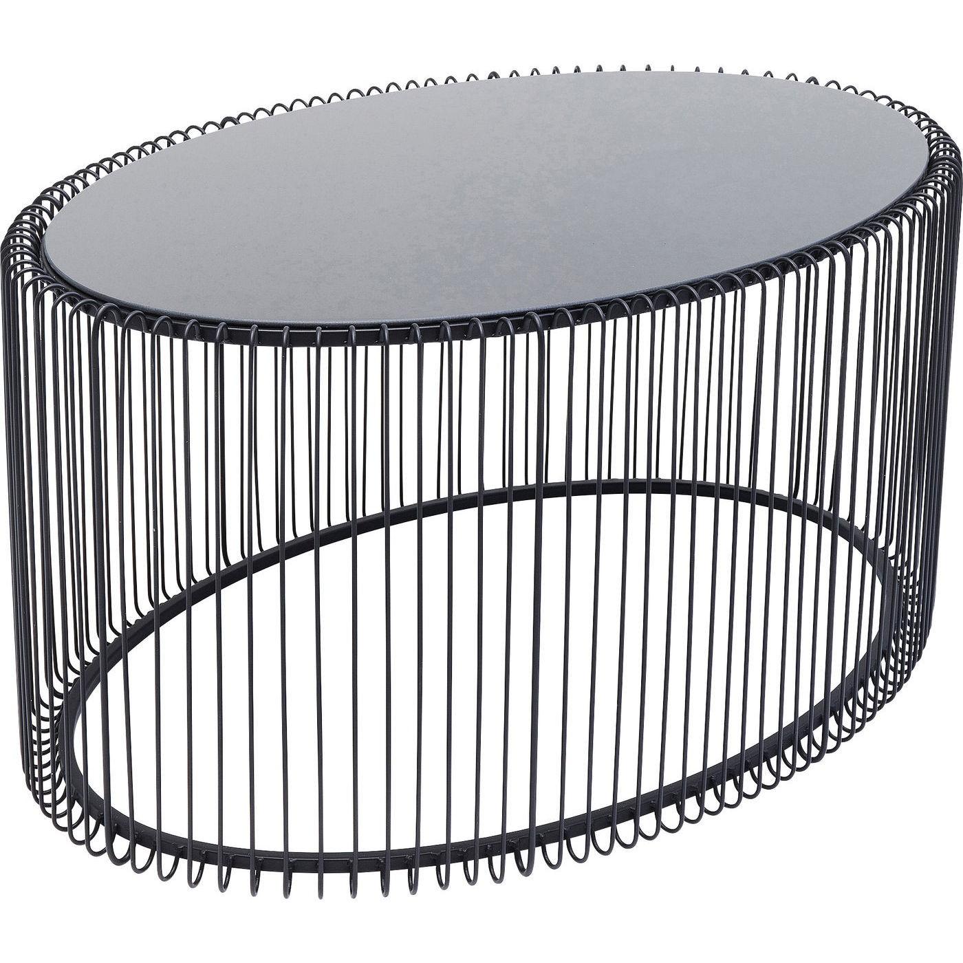 Table basse ovale en acier noir et verre