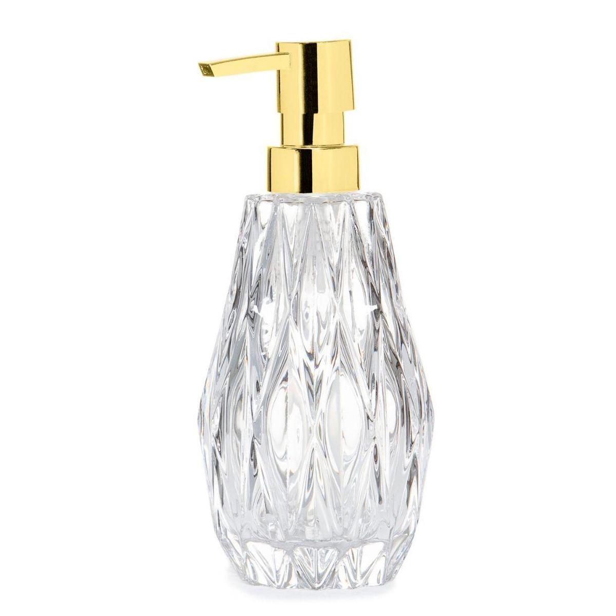 Distributeur de savon en verre taillé et bec verseur doré 8x20cm