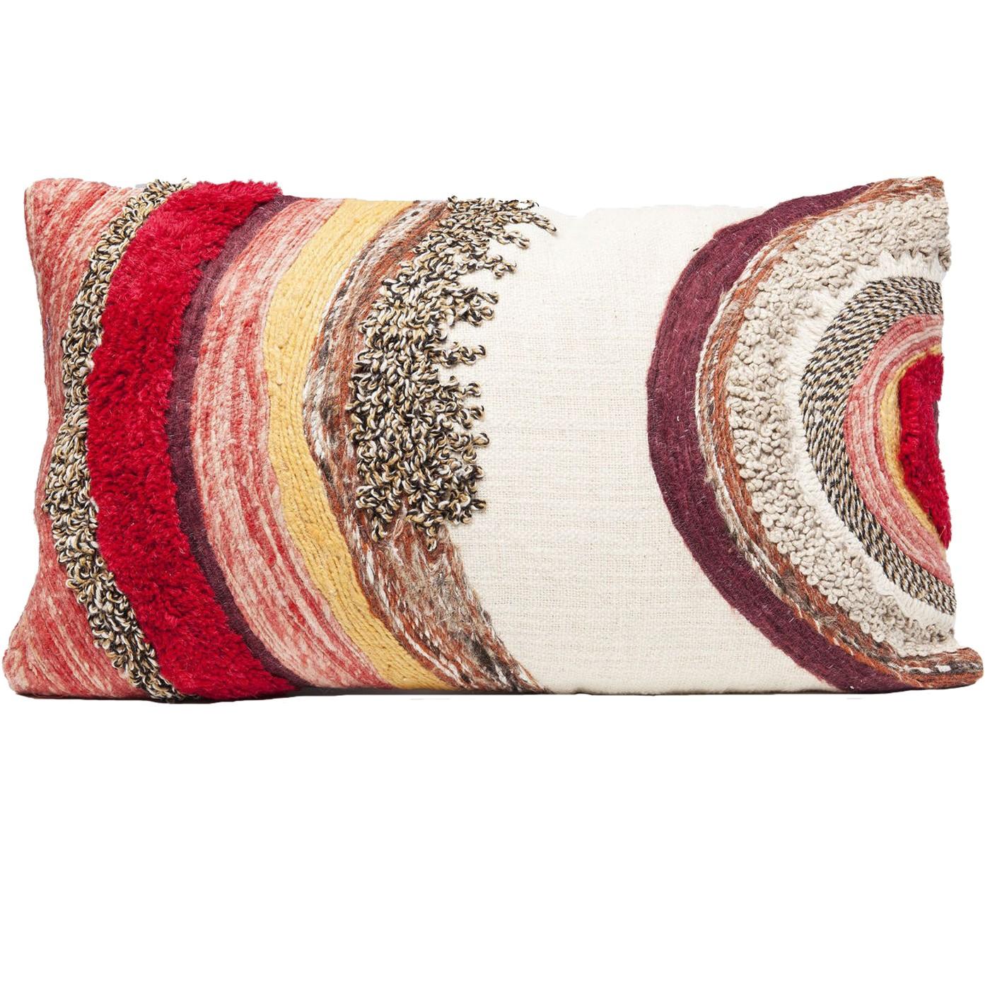 Coussin ethnique rouge en coton 40x60