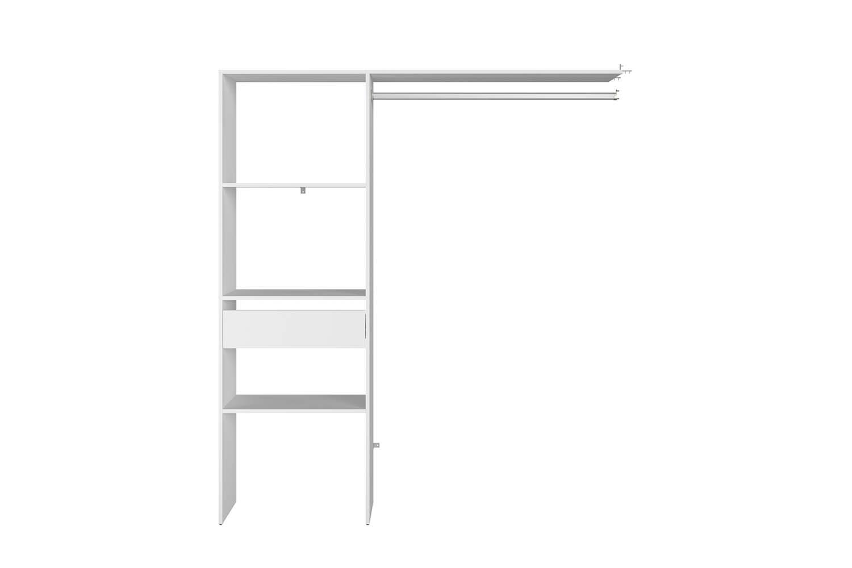 Dressing 3 étagères, 1 tiroir, penderie 160 x 40 x 180 cm