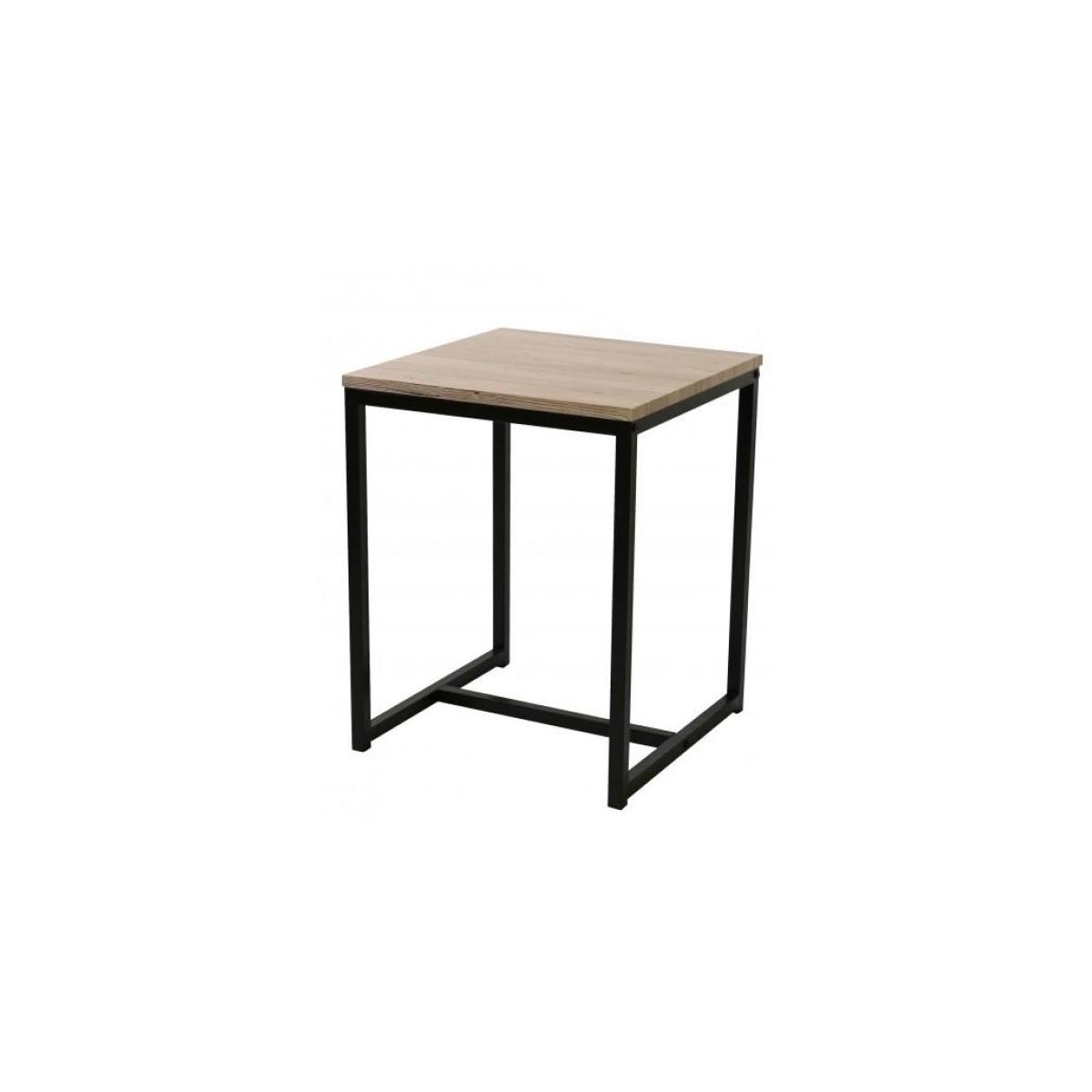 Table de chevet en métal noir et bois