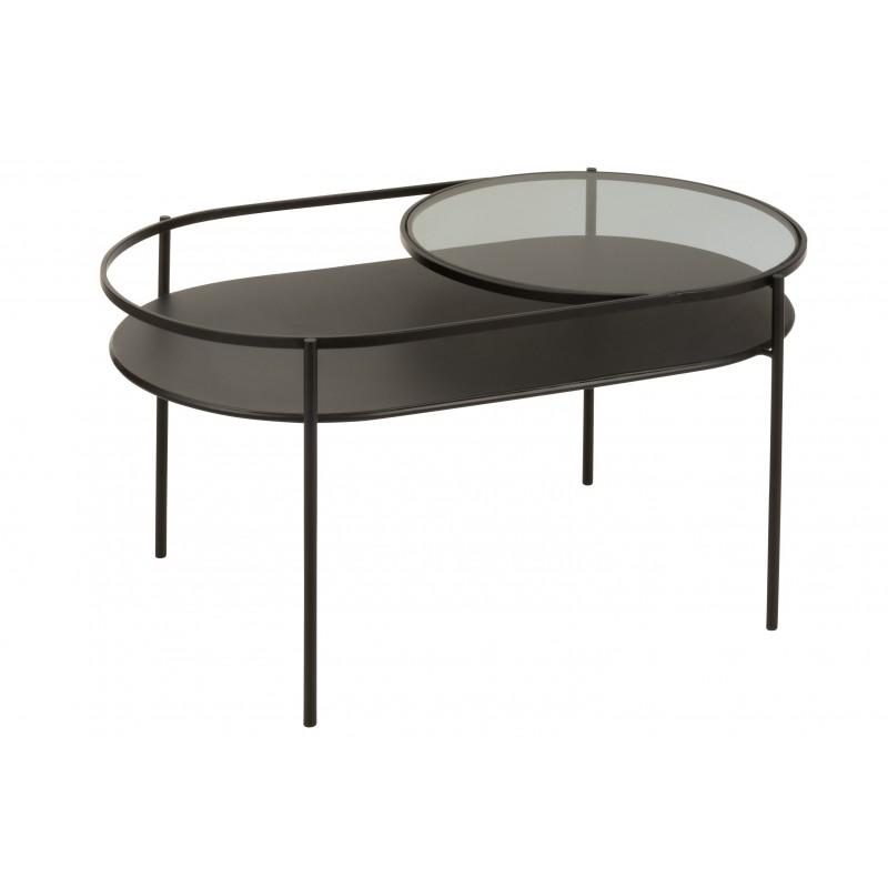 Table de salon ouverte métal noir et verre