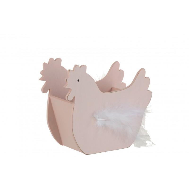Panier poule plumes en bois rose