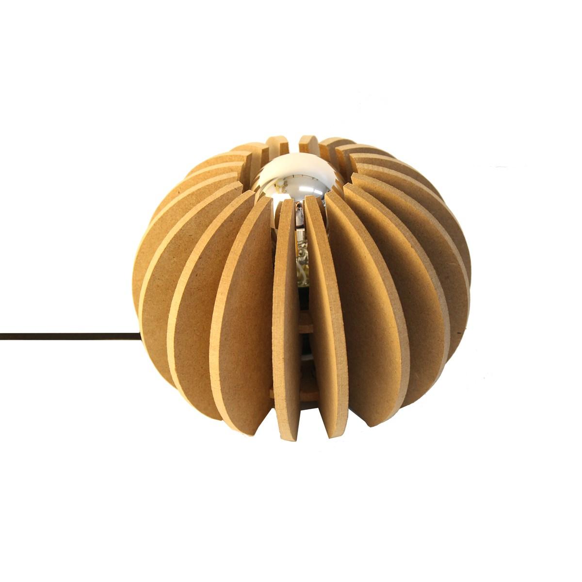 Lampe à poser bois boule D 20cm Wrecking Noir
