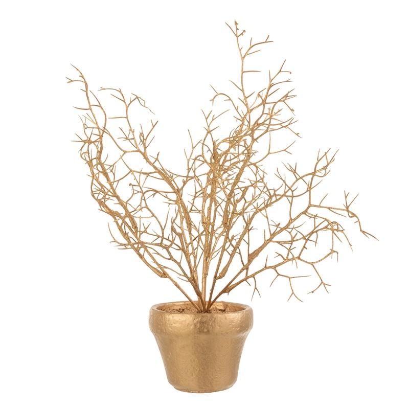 Branche en pot plastique paillettes or H30cm