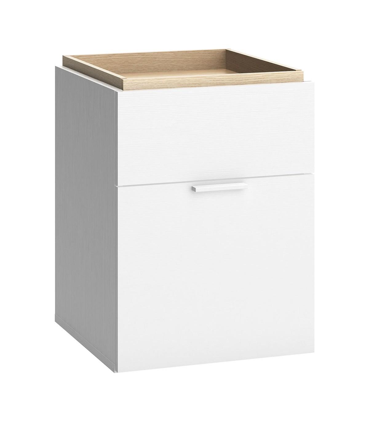Chevet 2 tiroirs Blanc et plateau décor Chêne