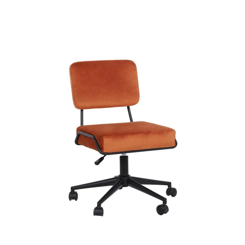 Chaise de bureau à roulettes en velours rouille