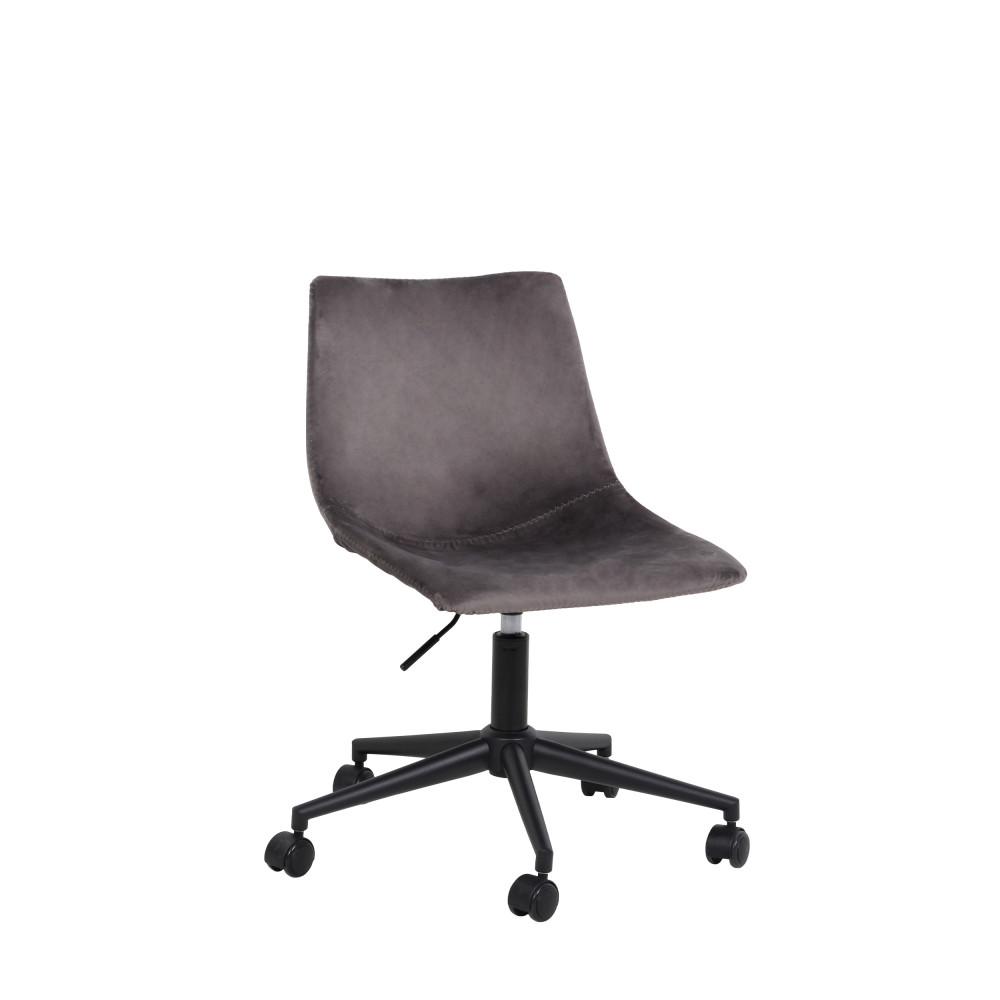Chaise de bureau à roulettes en velours gris