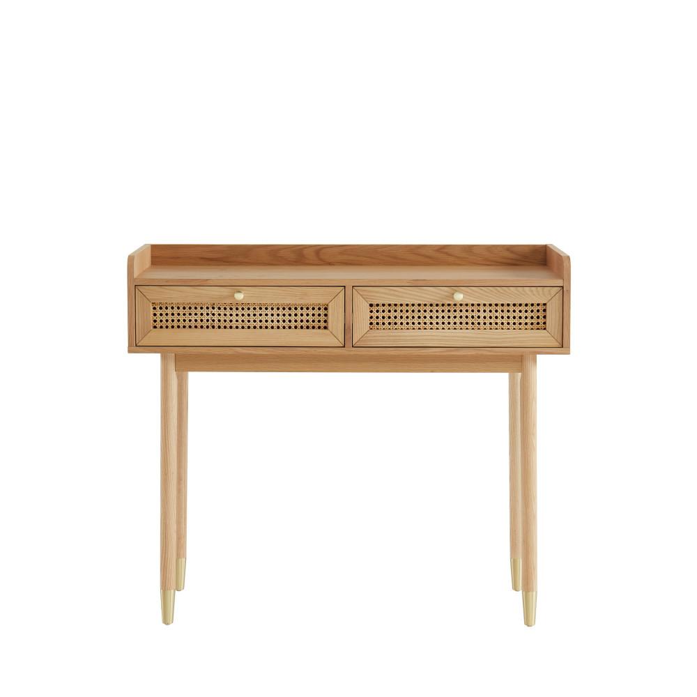 Console 2 tiroirs en bois et cannage L100cm chêne