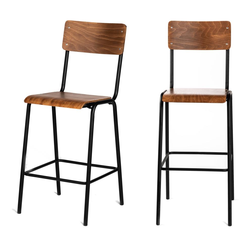 2 chaises de bar métal et bois foncé 67cm