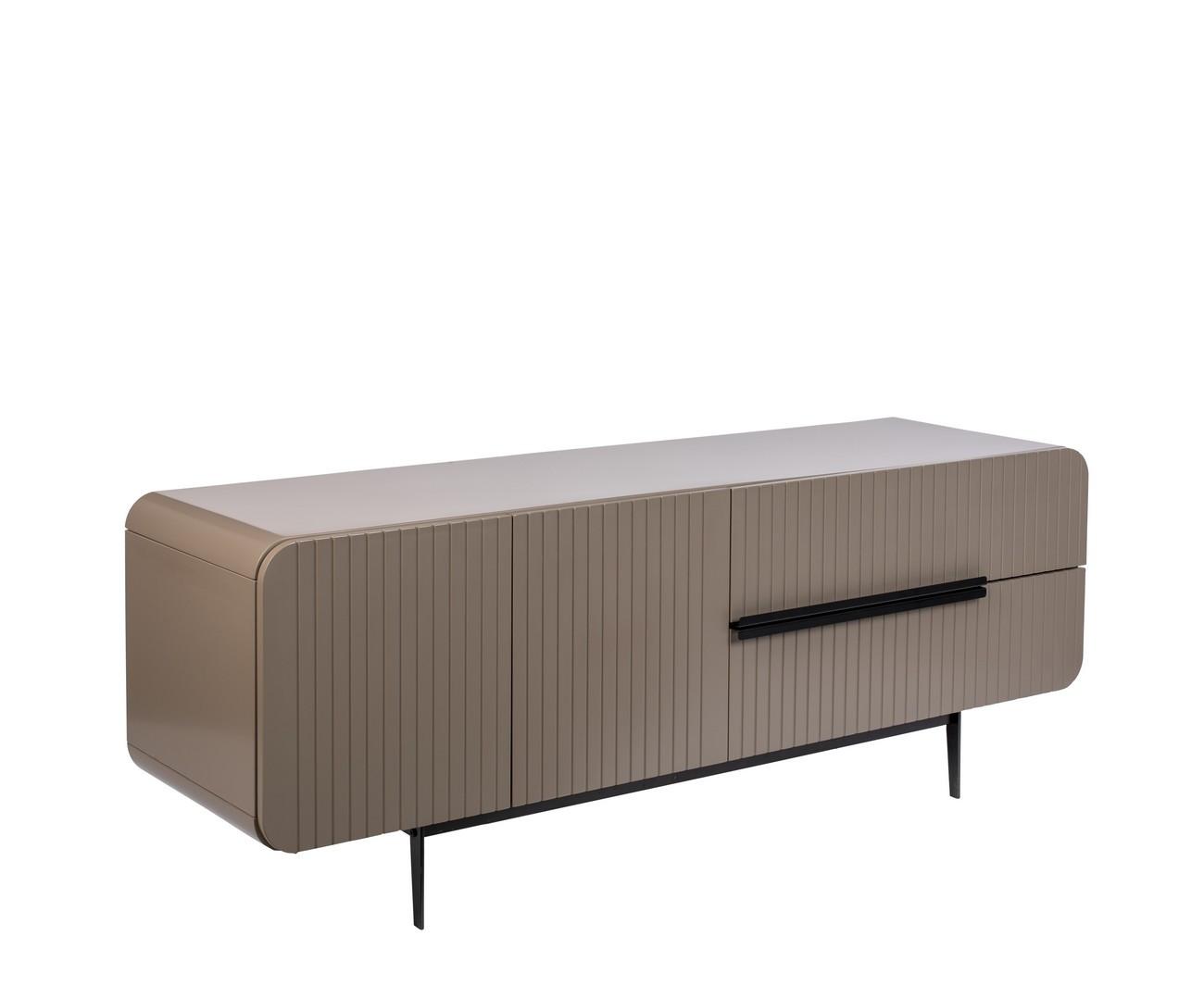 Buffet 2 portes 2 tiroirs en bois et métal 150x55cm gris
