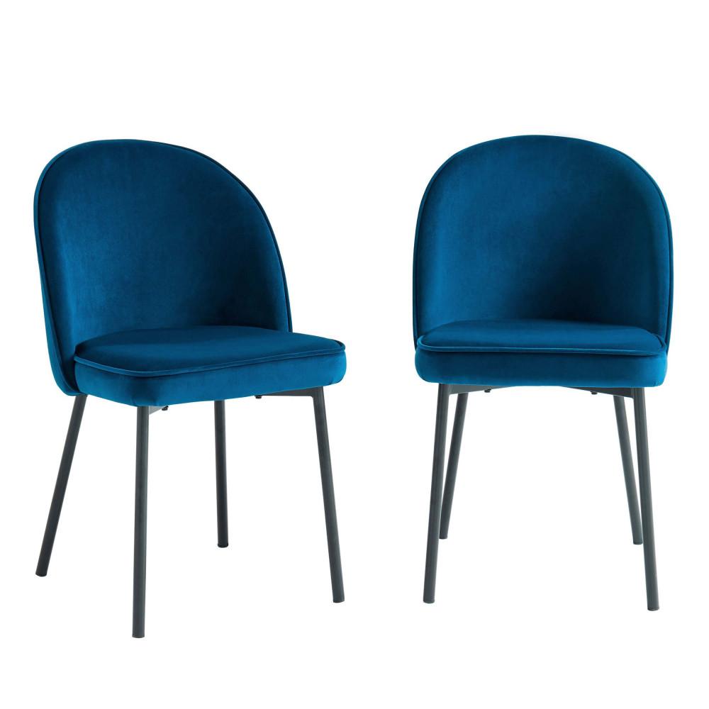 2 chaises en métal et velours bleu paon