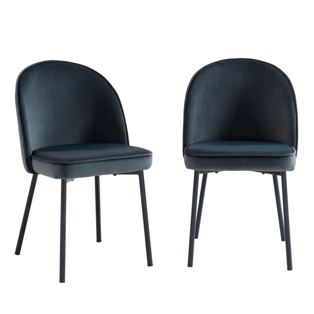 2 chaises en métal et velours gris anthracite
