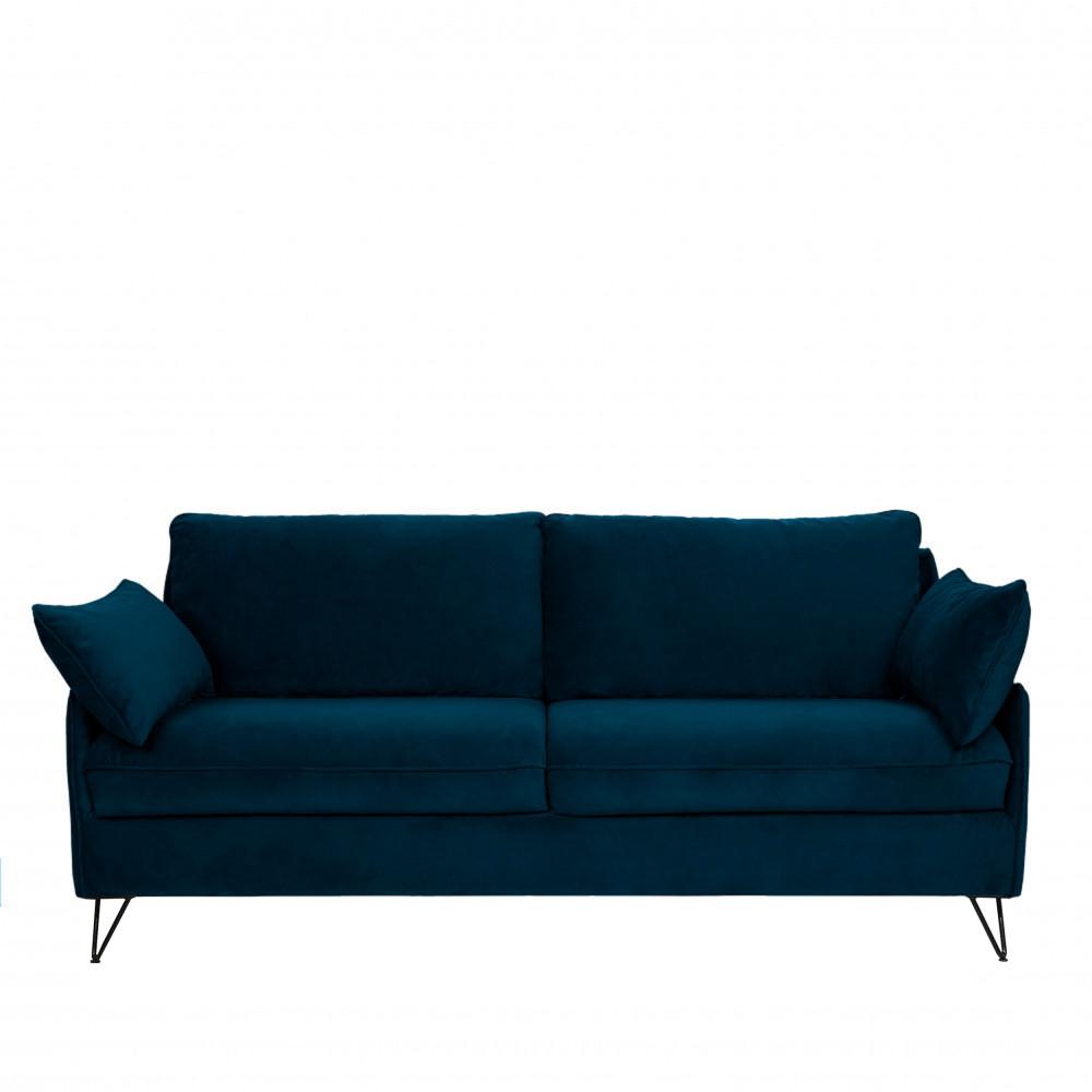 Canapé 4 places convertible en velours pieds épingles noirs bleu nuit