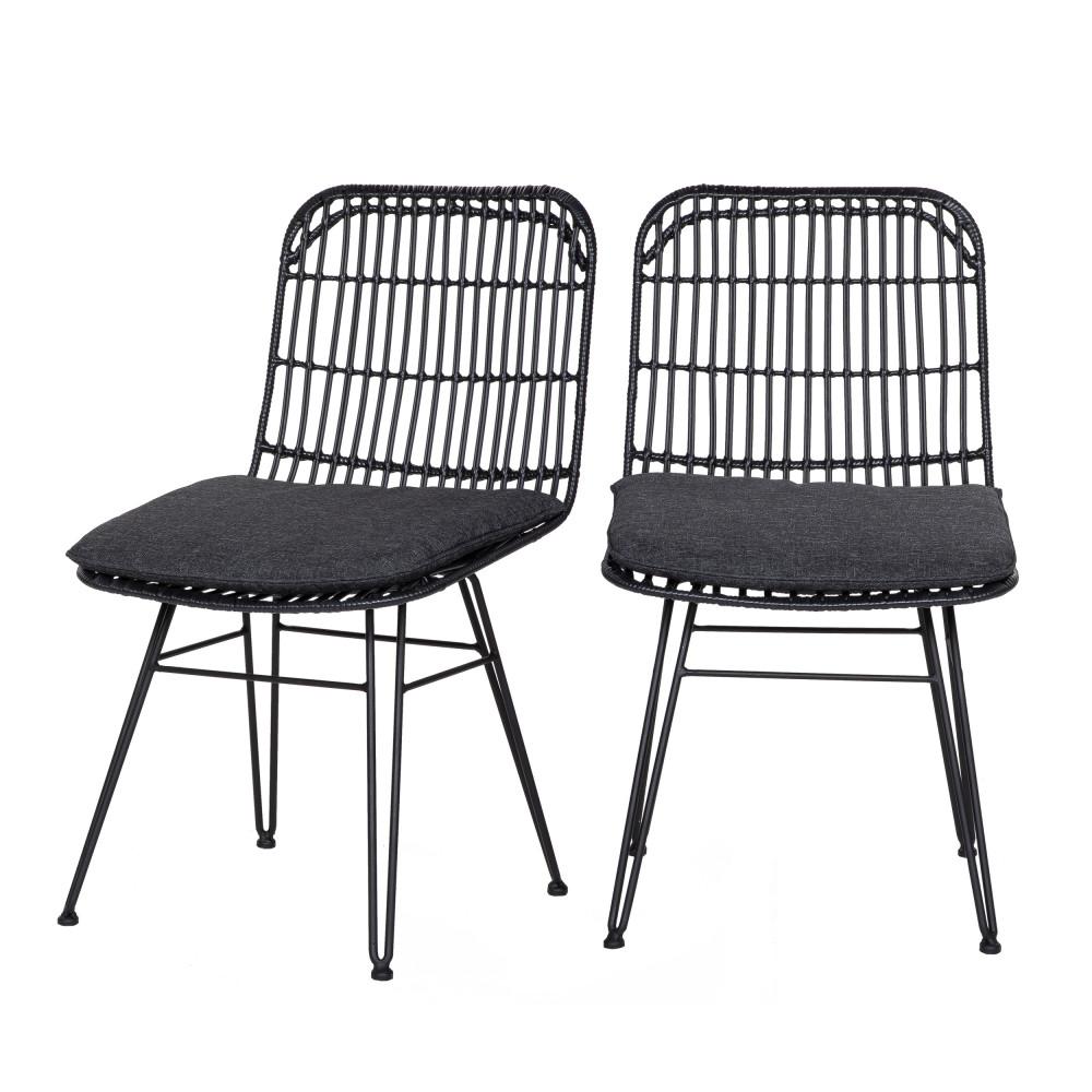 2 chaises indoor et outdoor résine tressée noir