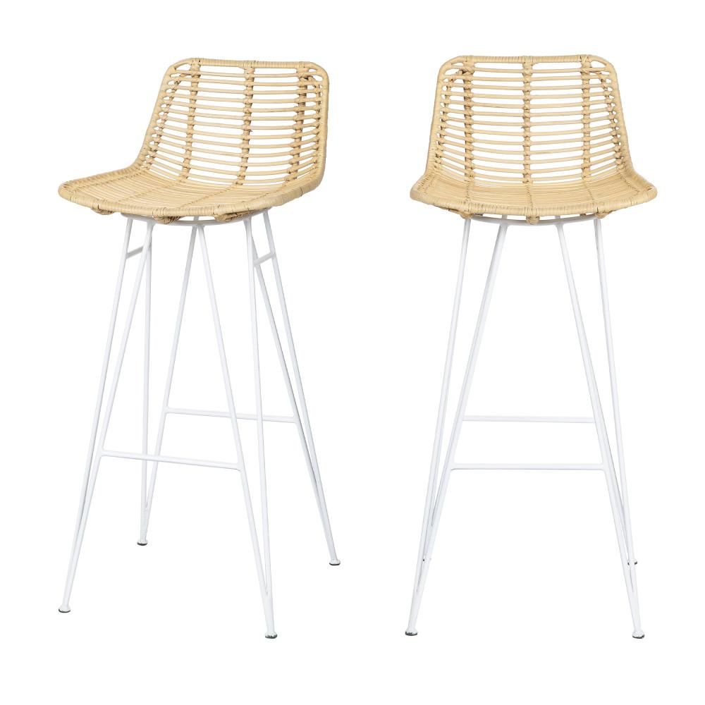 2 chaises de bar design en rotin pieds blancs 75cm