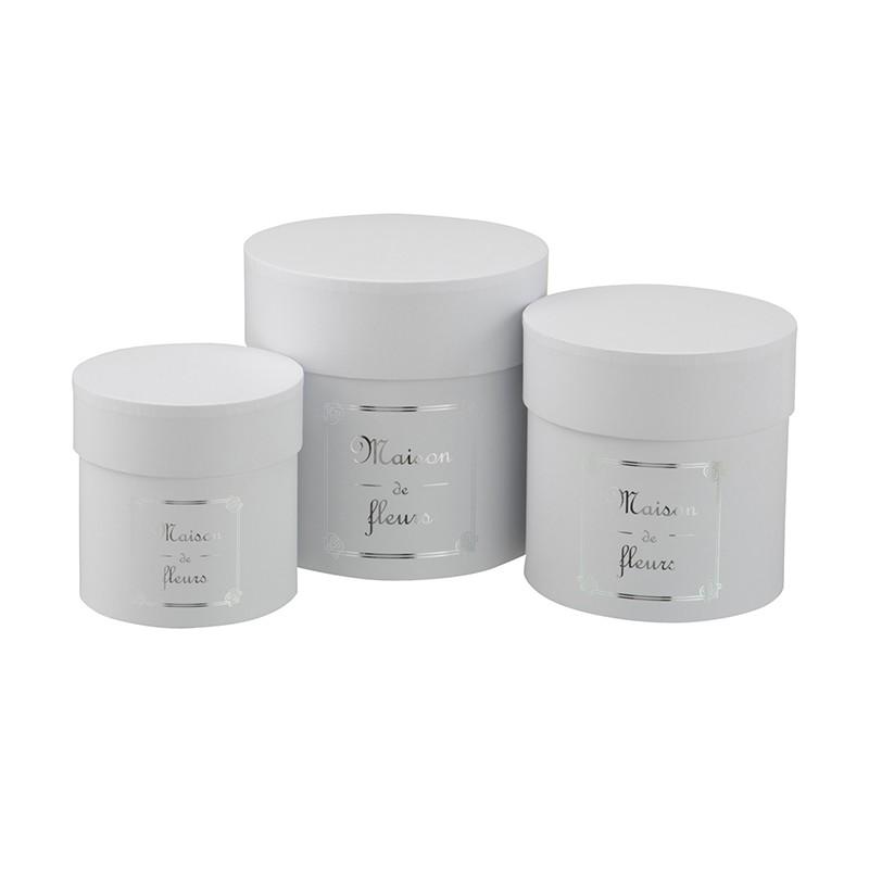 Boîtes rondes hautes papier blanc/argent - Lot de 3