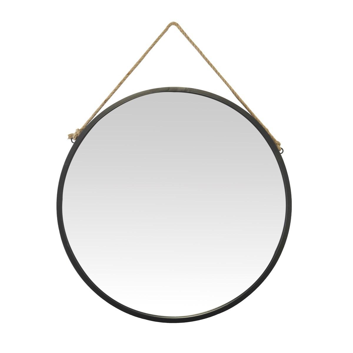 Miroir rond avec accroche en corde en métal noir D : 70 cm