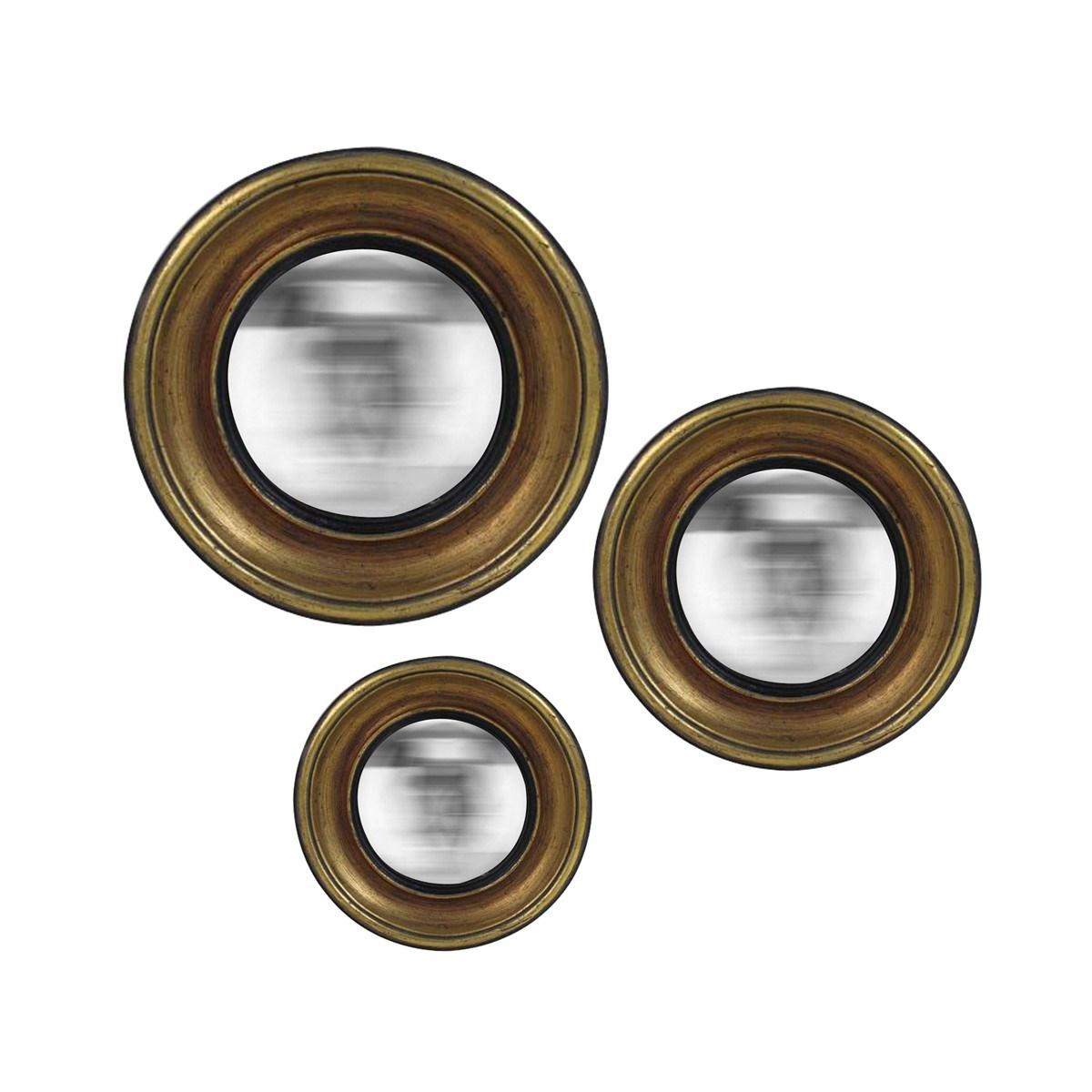 Lot de 3 miroirs en résine or 16, 19 et 23cm