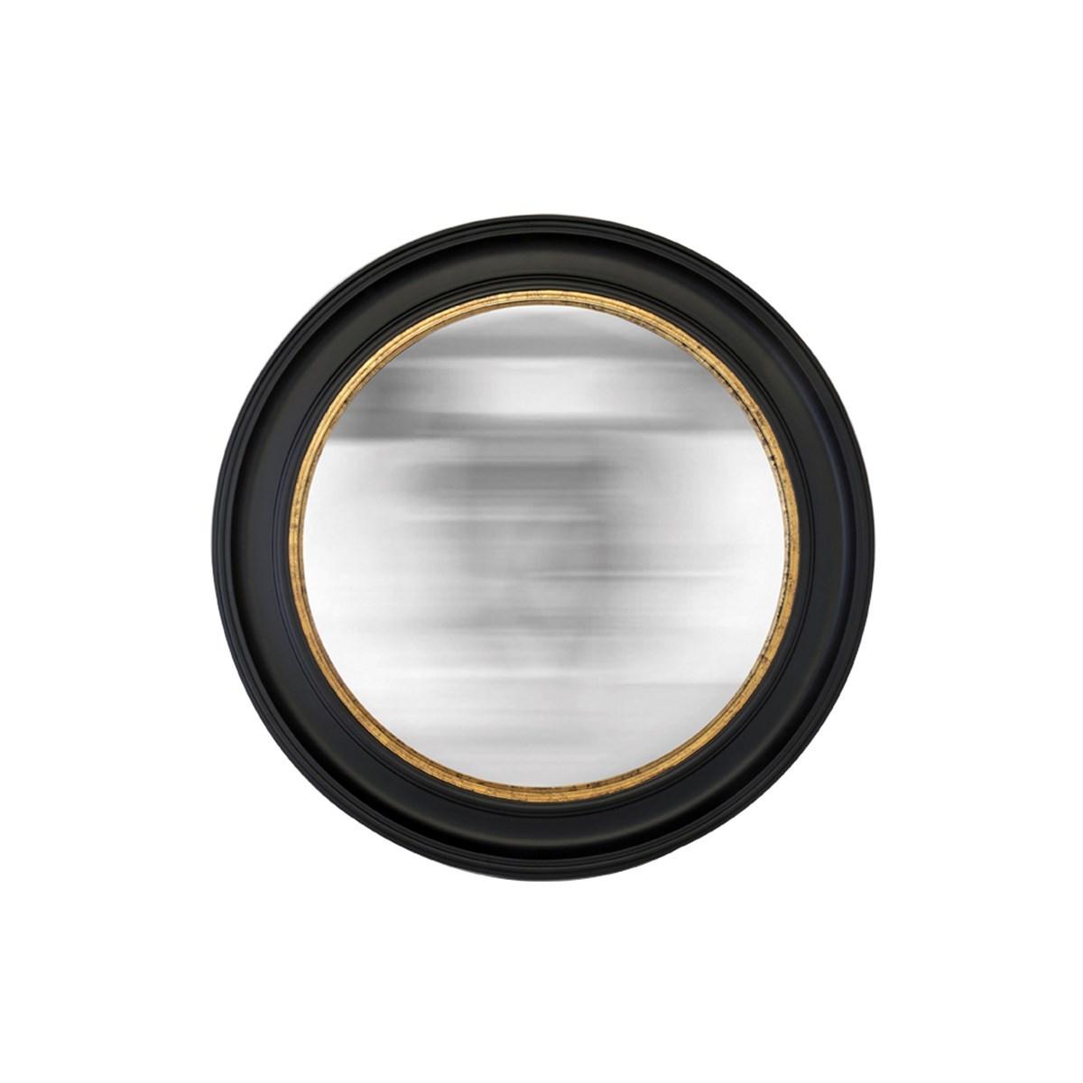 Miroir rond noir convexe en résine D : 80 cm