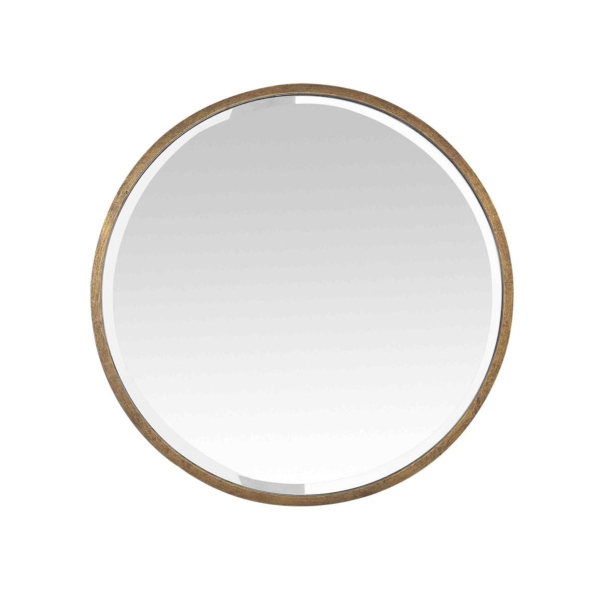 Miroir biseauté rond en métal or D : 60 cm
