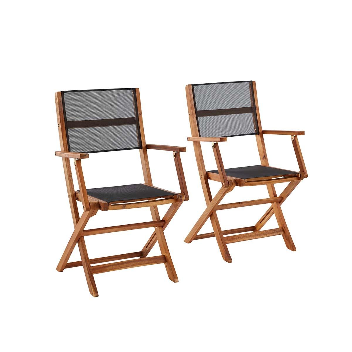 2 fauteuils pliants en bois d'acacia et textilène
