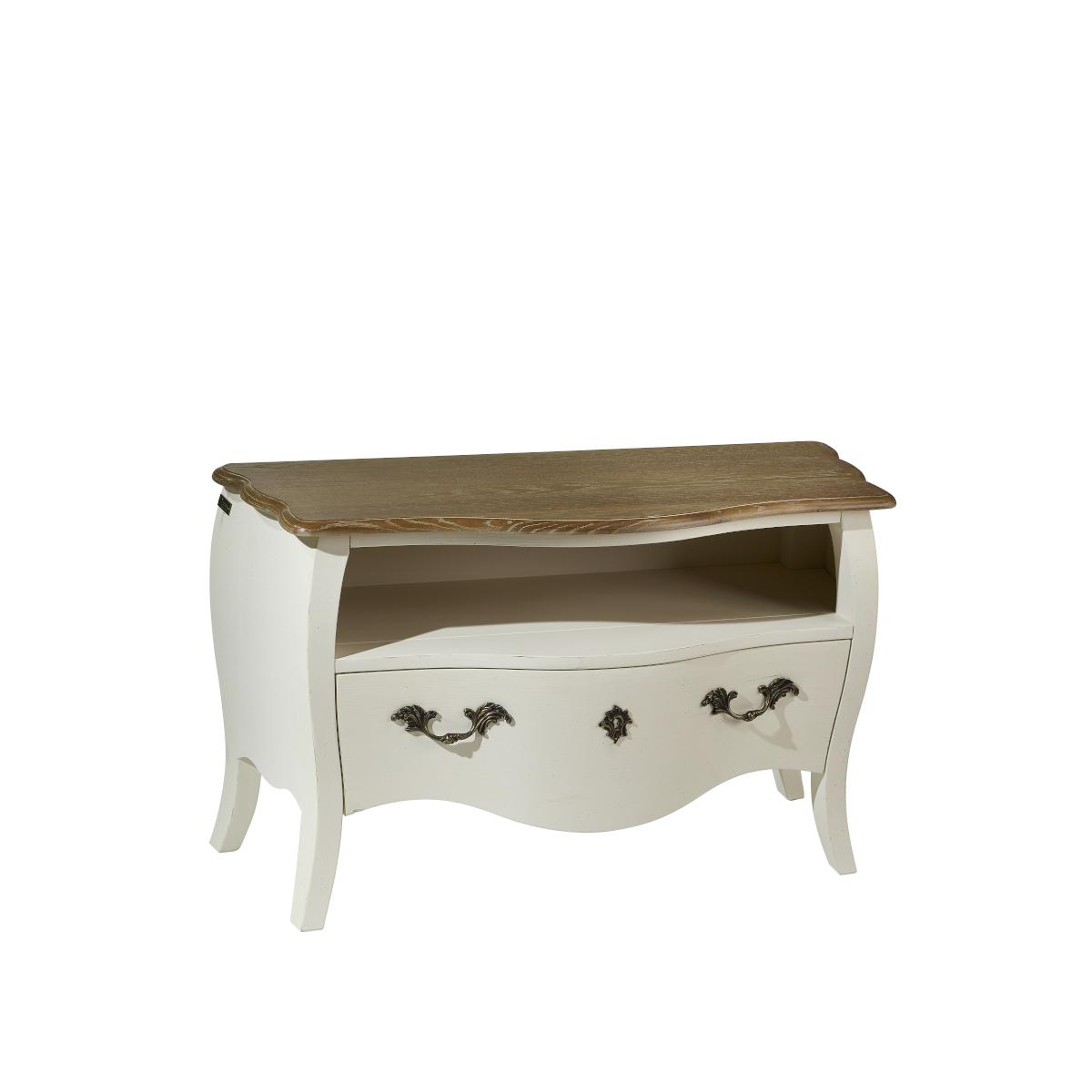 Meuble tv plateau chêne patine shabby chic blanc d'ivoire