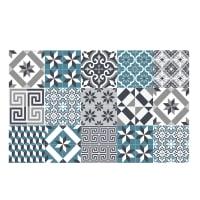 ECLECTIC - Tapis en vinyle motifs carreaux de ciment bleu 120x190